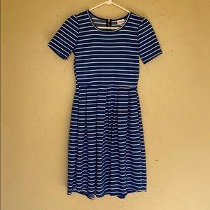 LuLaRoe Blue and White Striped Amelia Dress